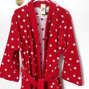 Cotton Ladybug Polka Dot Soft Spa Robe Sleepwear ♡